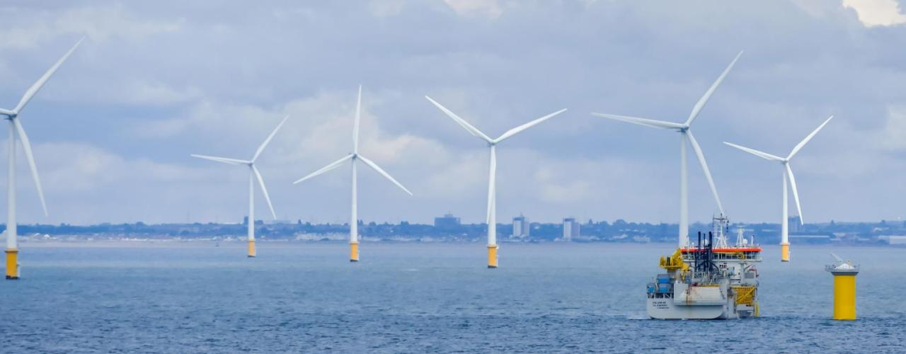 Fifty wind turbines in the North Sea